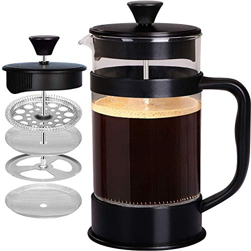 French Coffee Press, Black - 1000 ml/ 1 Liter/ 8 Cups (34 oz) Espresso and Tea Maker with Triple Filters, Stainless Steel Plunger and Heat Resistant Glass - by KICHLY