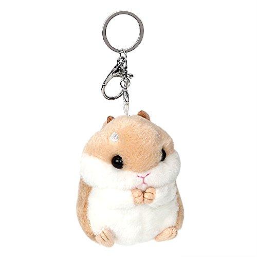 iTimo KFZ Schlüssel Ring, Plüsch Toys Anhänger Schlüsselanhänger, Tier Puppen Schlüsselanhänger Kugeln Anhänger Lovely Schlüssel Kette Dekoration niedliche Hamster (Khaki)