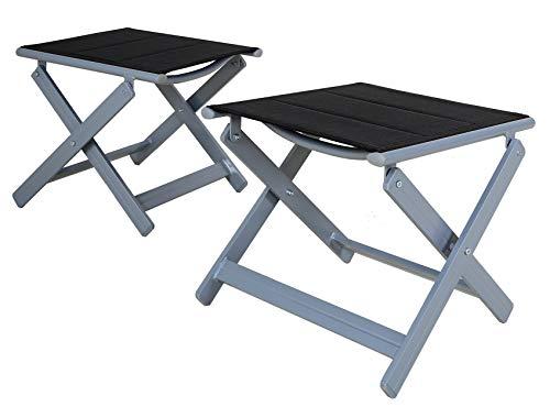 Chicreat - Taburetes plegables de aluminio tapizados, Plateado/Negro (set de 2)