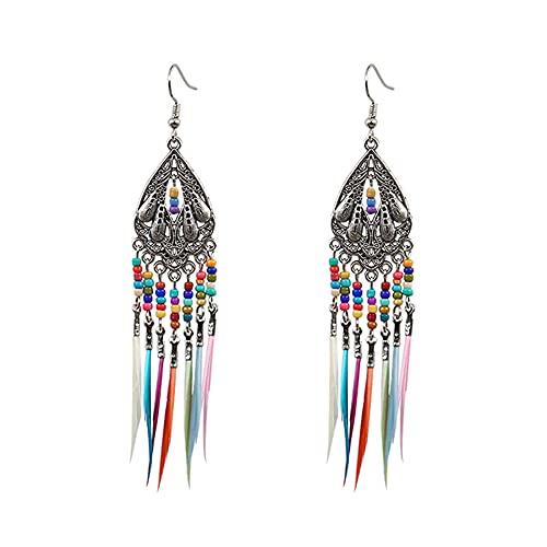 Pendientes de plumas, 1 par de pendientes de imitación bohemio para mujer, estilo vintage, bohemio, plumas, plumas, pendientes de aro (tipo 2)