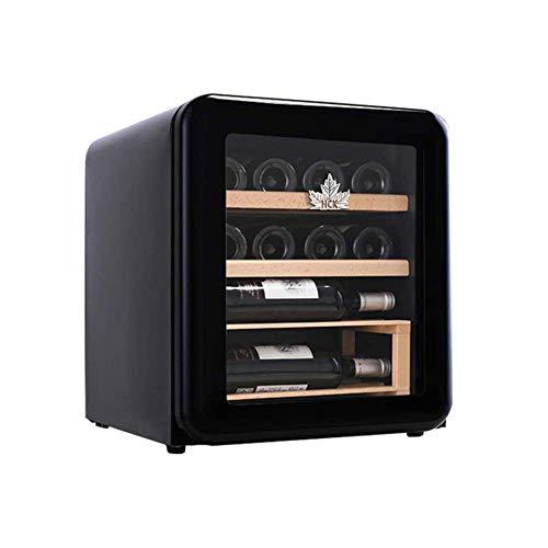 Enfriador de Vino eléctrico, refrigerador de Escritorio de Acero Inoxidable, Estante de Madera, Puerta de Vidrio, Funcionamiento silencioso (Color: Rojo)
