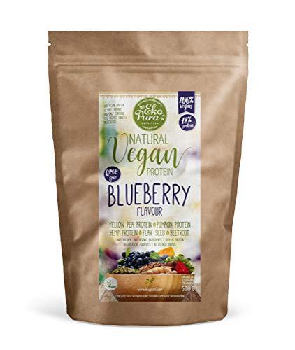 Natural Vegan Protein - Blueberry (Bio & Plantaardig Eiwitpoeder) - 76% Eiwit, 500g, zonder Kunstmatige Toevoegingen
