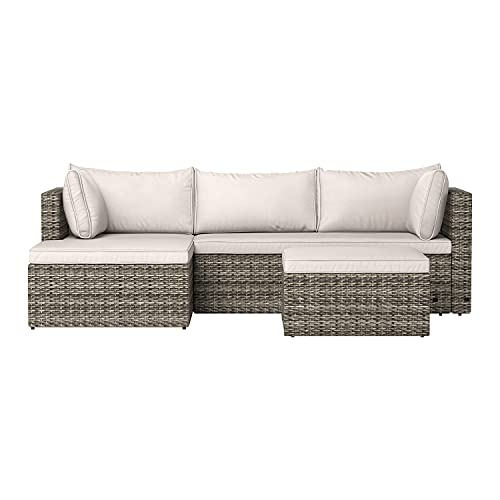 Amazon Basics Outdoor Reversible Chaise Wicker Rattan Sectional...