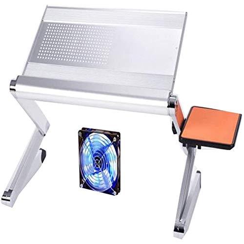 WQUI Escritorio para Computadora Plegable, Escritorio para Computadora Portátil, Soporte para Computadora Portátil, con Plataforma para Mouse Y Barra Antideslizante Ajustable,White