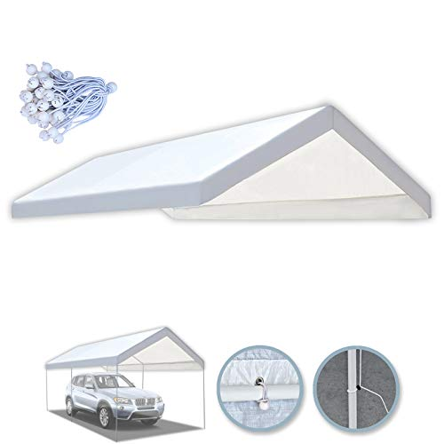BenefitUSA 10'x20' Carport Replacement Canopy Tent Garage Top Tarp Shelter Cover w Ball Bungees (with Edge)