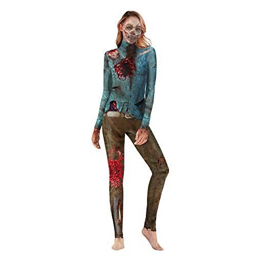CYYMY Damen Halloween Bodysuit Overall Body Kostüm 3D Zombie Print Einstellen Anzieh Bühnenanzug Catsuit Partykleidung Cosplay Jumpsuit Clubwear,M