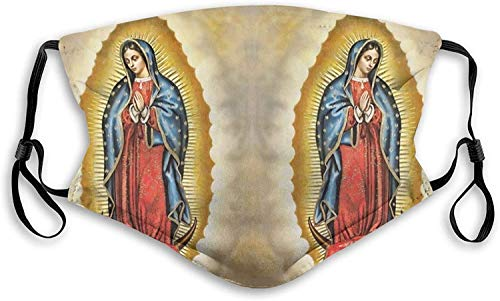 Virgin Mary Our Lady of Guadalupe Womens Man's Dust Masks Outdoor Adjustable Earrings Mask Reusable with More Filter-Black-Medium