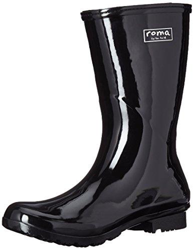 Roma Boots Emma Mid Botas de lluvia para mujer, negro (Negro), 40.5 EU