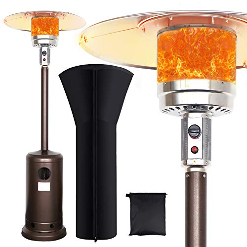 Commercial Courtyard Use Hammered Bronze Soarrucy Outdoor Patio Heater Waterproof Cover 48000 Btu Outdoor Space Floor Standing Heaters For Patio Propane Heater Wheel Outdoor Heating Kolenik Patio Heaters