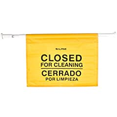 """QUALITY CONSTRUCTION. The Alpine Industries """"Closed for Cleaning"""" Sign is expertly crafted out of abrasion-resistant, polyester material to hold up to normal wear and tear, and provide long-lasting use. SAFETY WARNING. Providing clear identification ..."""