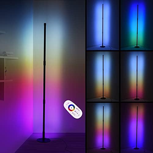 Kaigelu888 Lámpara de Pie RGB Regulable 20W con Control Remoto , Negro,130CMx16CM Lámpara de Suelo Luz, RGB Lámpara Moderna LED para Salón, Dormitorio, Oficina Decoración,Biblioteca