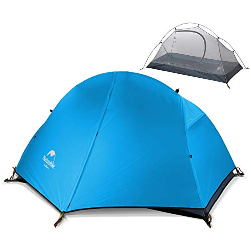 Naturehike Backpacking Camping Tent 1 Person Ultralight Waterproof Anti-UV Double Layer Portable with Footprint for Outdoor Hiking Cycling Bikepacking, 4 Season, Easy Setup, Large Size - 210T Sky blue