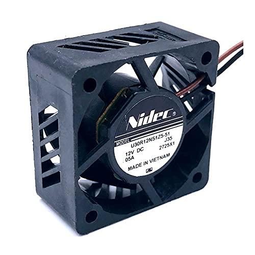 SCYHGLM Small Equipment Cooling Fan for U30R12NS1Z5-51J35 3cm U30R12NS1Z5-51 J35 12V 0.05A 2Wire,Large Air Volume Cooling Fan 30x30x15mm 2Wire