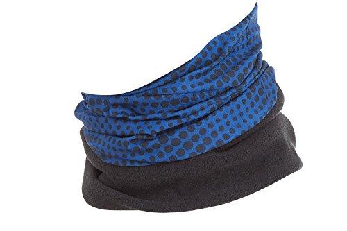 Hilltop Polar Halstuch, Multifunktionstuch, Kopftuch, Schlauchschal, Schal mit Fleece, Cooles Design in Trendfarben, für Damen und Herren, Farbe:blau - schwarze Streifen