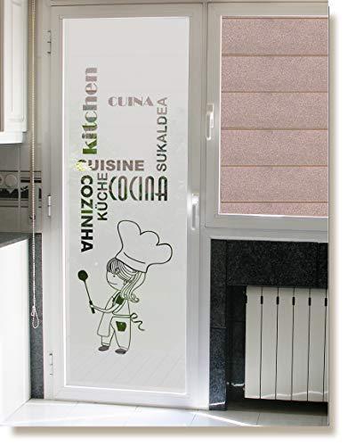 vinilo para cristales- COCINERA CON PALABRAS COCINA en diferntes idiomas, para puerta o ventana deja pasar la luz (75_x_200_cm)