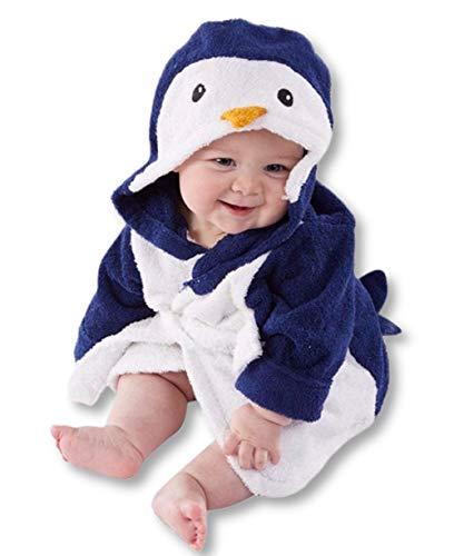 Carolilly Albornoz de bebé con capucha de felpa suave de franela con forro polar con capucha para ropa de noche (1-6 años) pingüino 4- 5 años