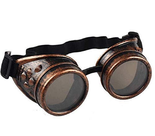 syart Goggles Steampunk Glasses Vintage Retro Weld Punk Gothic Sunglasses Gogglesviation Biker Motorcycle Riding Windproof Steampunk Sunglasses Goggles Party (Brass)