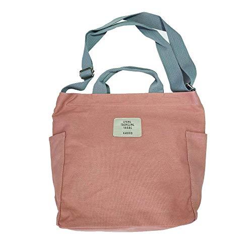 iSoulNa Damen Umhängetasche pink Casual Handtasche Damen Canvas Chic Schultertasche Damen Henkeltasche Schulrucksack Große umhängetasche Tasche