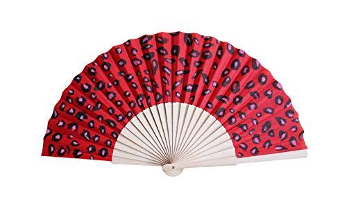Abanico Sabana Rojo Pequeño. Abanico español artesano pequeño (23cm), pintado a mano,...