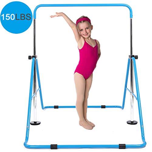 DOBESTS Gymnastics Bar for Kids Gymnastic Equipment for Home Folding Junior Training Monkey Bars Expandable Kip Bar for 3-7 Years Old Children