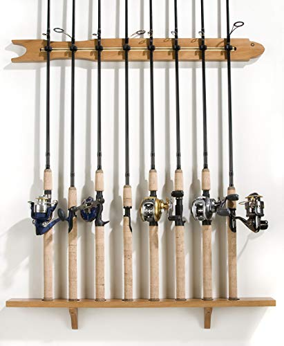 Old Cedar Outfitters Modular Wall Rack for Fishing Rod Storage, Holds up to 8 Fishing Rods, Pine, Finish, 8 Capacity