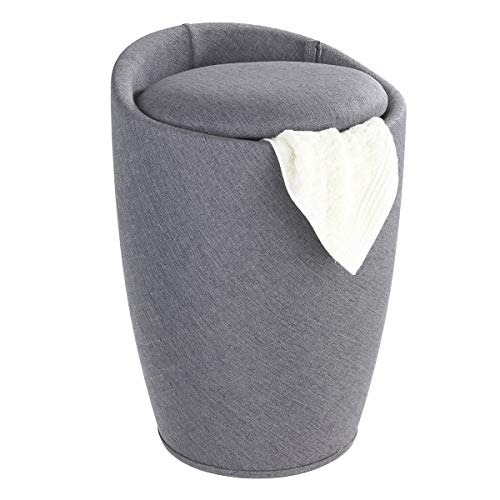 WENKO Badhocker Candy Leinen Optik Grau, Hocker mit Stauraum für das Badezimmer und Wohnzimmer, integrierter Wäschesammler, ABS-Kunststoff, Fassungsvermögen 20 L, Ø 36 x 50,5 cm