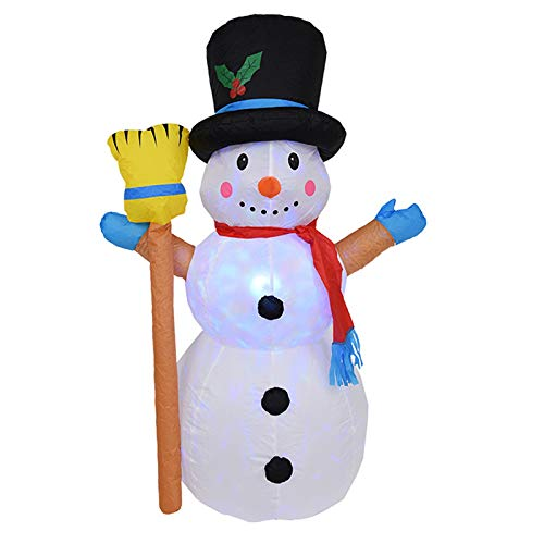Christmas Inflatable Snowman, Flashing Lights Christmas Decoration, Airblown Snowman with Fan and Anchor Ropes, Animated for Yard Party Lawn, Indoor & Outdoor