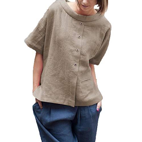 SLYZ Señoras Verano Moda Casual Abotonado Camisa De Manga Corta Cuello Redondo Costura Color Sólido Camiseta Mujer