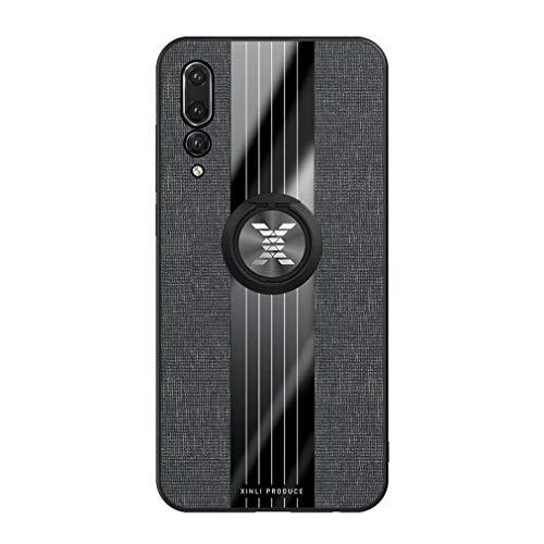 Qsdd Replacement for Huawei P20 Pro Custodia+1*Protezione Dello Schermo,360 Gradi Supporto per Anello Di Rotazione Antigraffio Anti Impronta Digitale Antiurto Protettivo Caso(Nero)