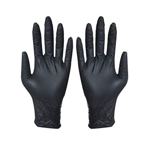 ZLEW 100Pcs Schwarze Einweghandschuhe, Haushaltswaschhandschuhe, rutschfeste Einweghandschuhe, zum Grillen geeignet, M.
