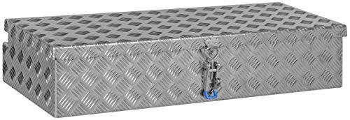Deichselbox, Premium, aus Alu Riffelblech 2,5/4 mm, Staubox, Truckbox, Werkzeugkasten, Gurtkiste B 915 x H 190 x T 390 mm Inhalt: ca. 65 Ltr.