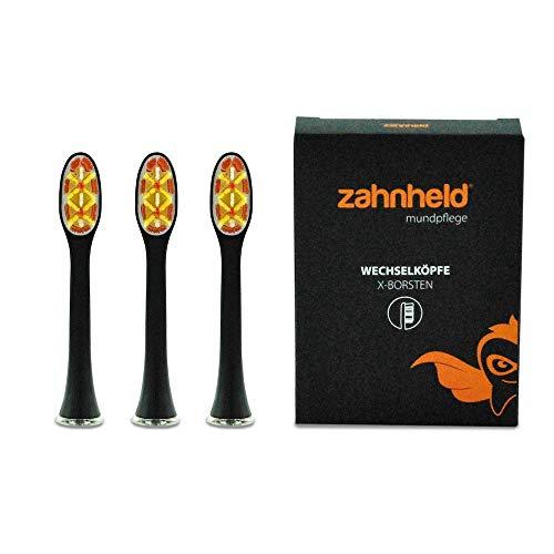 ZAHNHELD® COMMEO (X-Borsten), 3 Stück Whitening Wechselköpfe (Bürstenköpfe) Für Elektrische Zahnbürste (Schallzahnbürste) GERO | Ersatzbürsten - Aufsteckköpfe, Schwarz