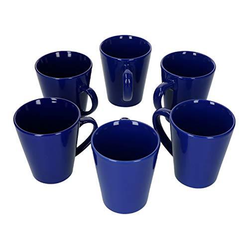 Van Well 6X Kaffeetassen in Blau I Konisch I Moderner Stil I Ø 9 cm I 360 ml I Tee-Pott I Einfarbige Kaffeebecher