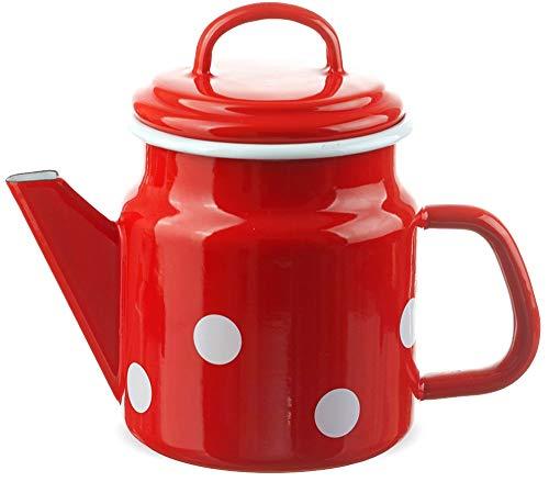 matches21 Trendige Email Teekanne/Kaffeekanne rot gepunktet nostalgisches Emaille Geschirr je 17x12 cm / 1000 ml