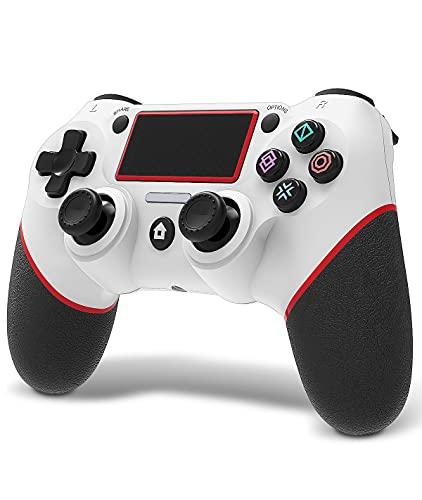 MAXKU Manette Ps4, Playstation 4 Contrôleur Audio Jack et Remote Rechargeable Six essieux Gamepad sans Fil Bluetooth Bluetooth (Blanc Rouge)