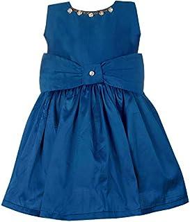 VASTU CREATION Girl Kids Mid Knee Length Wedding Festive Casual Party Dress