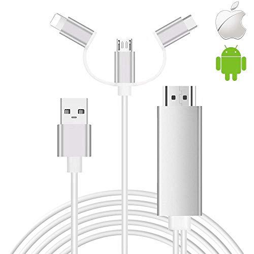 Cavo da smartphone a HDMI, SwiftLand 3 in 1 USB tipo C da flash a HDMI HDTV Adattatore cavo 1080p Adattatore AV digitale Cavo specchio