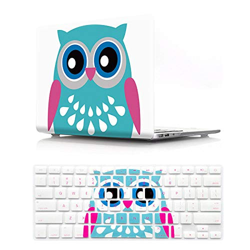 HRH 2 in 1 Cute Owl Laptop Body Shell Protective PC Hard Case Cover and Matching Silicone Keyboard Cover for MacBook Air 13.3' (A1466/A1369),Not Compatible 2018 Version A1932