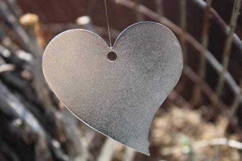 Rostikal | 10er Set Deko Herzen in Silber zum Hängen, Metalldeko mit Pfiff | 5 cm