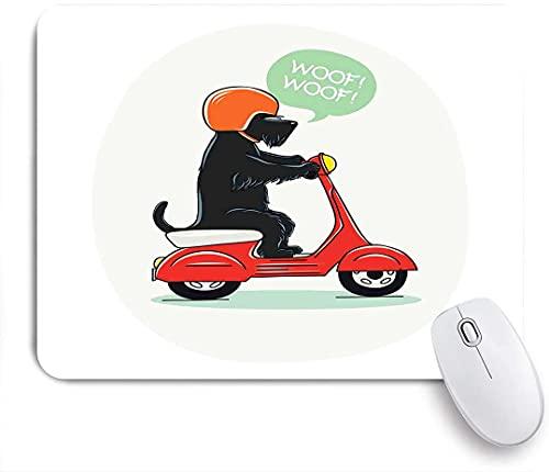 LISNIANY Alfombrilla Gaming,Ilustración de un Cachorro en Scooter con diseño de cómic de Globo de Texto de Woof Woof,con Base de Goma Antideslizante,240×200×3mm