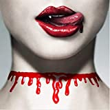 Cathercing Halloween Party Red Blood Drop Choker Necklace Camouflage Vampire Costume Dress Up Accessory