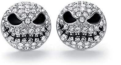 hanreshe Crystals Skull Stud Earrings Jack Silver Color Circle Small Earrings Nightmare Before product image