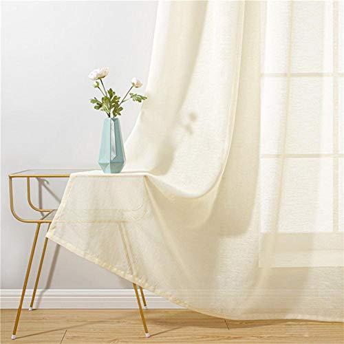 Baumwoll Leinen Tüll Vorhänge für Wohnzimmer Transparente Fenstervorhänge für Schlafzimmer Cafe Einfarbige Cortina Fenster Beige Weiß-Beige, B350XH270cm, Belgien, 5 Pull Plissee Tape