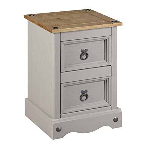 Corona 2 Drawer Petite Distressed Waxed Pine Finish Bedside Cabinet, Metal, Grey, W360 x D320 x H531mm