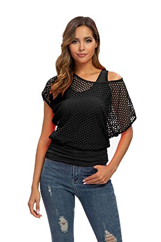Smile Fish Women Casual Sexy 80s Costumes Fishnet Neon Off Shoulder T-Shirt (Black US 10/Tag Size L)