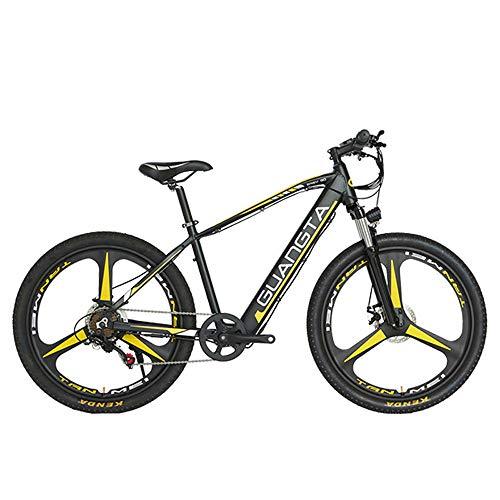 F1 26 Pulgadas 500W Potente Bicicleta eléctrica 48V 15Ah batería de Litio Oculta Horquilla de suspensión bloqueable 5 Pas Bicicleta de montaña (Black Yellow)