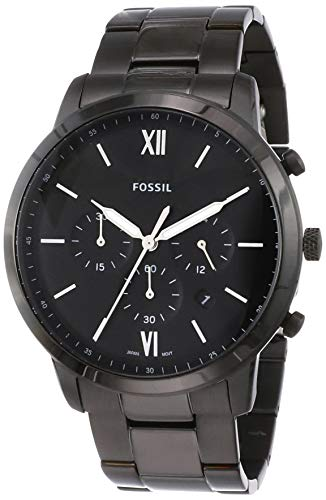 Fossil Men's Neutra Chrono Quartz Stainless Chronograph Watch, Color: Black Stainless (Model: FS5474)