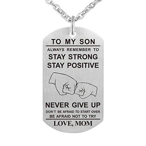 Collar con Colgante de la Fuerza Aérea Militar para Graduación de Cumpleaños, con Texto en Inglés Dad Mom To My Son Daughter Never Give Up Stainless Steel Dog Tag Military Air