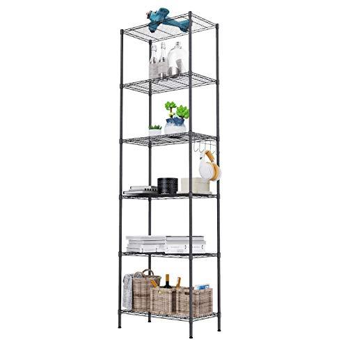 Lagerregal, Regal mit Rollen und 6 Regalböden Küchenregal Metall mit Seitenhaken aus verchromt, bis zu 500lbs, 54 x 29 x 160cm, Schwarz