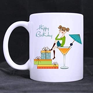 Birthday Gift Funny Happy Birthday Cartoon Cute Girl(Twin Side) White Ceramic Mug Coffee Cup (11 Ounce)